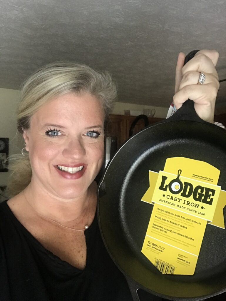 Brooke with a cast iron skillet