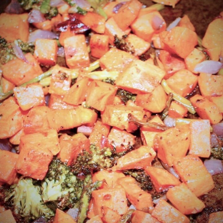 Roasted Sweet Potatoes, Onion, Broccoli and Asparagus