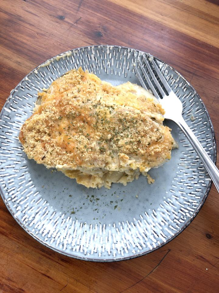 overhead picture of a serving of scalloped potatoes