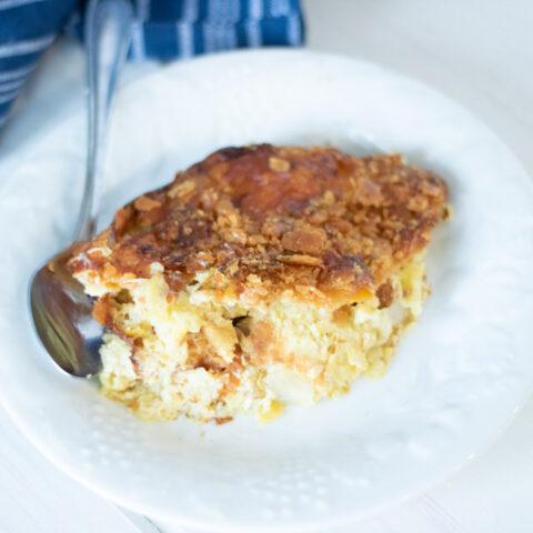 squash casserole on a white plate