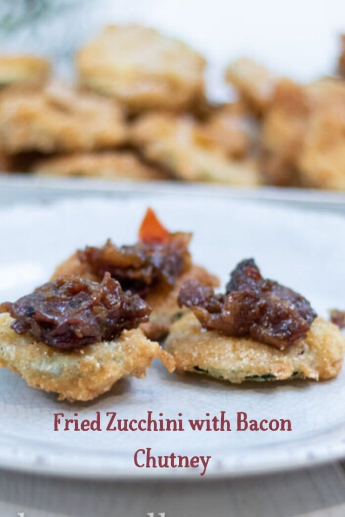 Fried Zucchini with bacon chutney