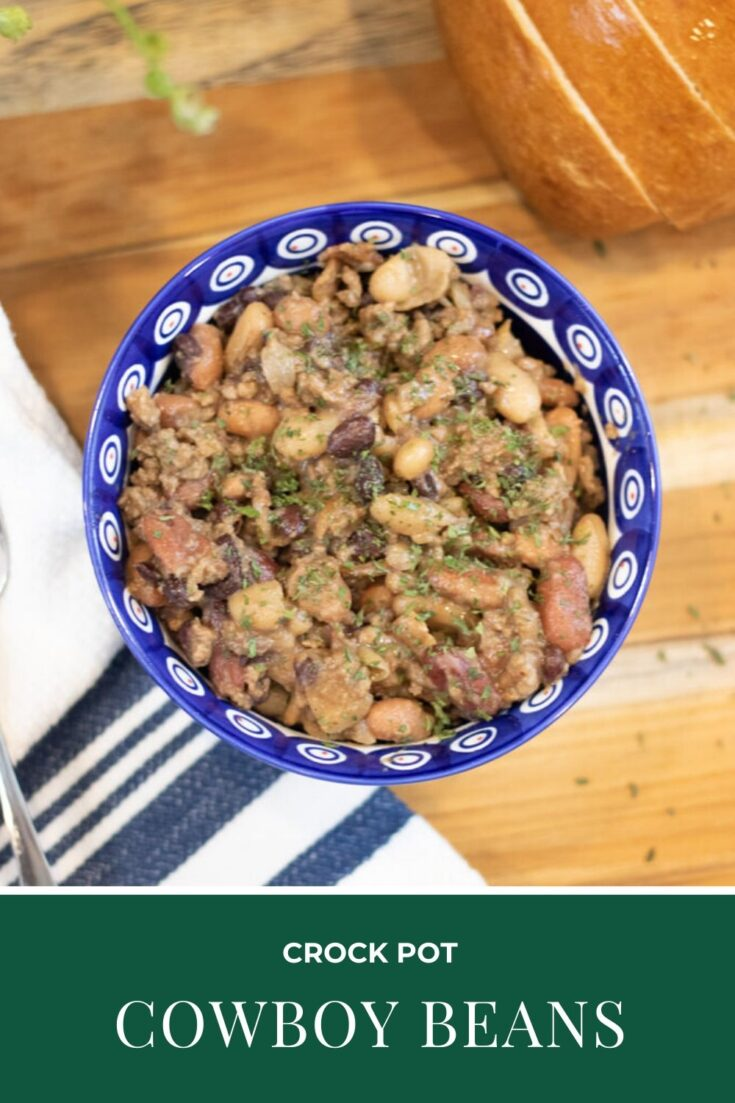 Crock Pot Cowboy beans are the perfect way to get a hearty one pot meal. Bacon, ground beef and beans that all cook while you get on with your life. It's a win/win! #cowboybeans #crockpotcowboybeans #beans #crockpotbeans #crockpotrecipe