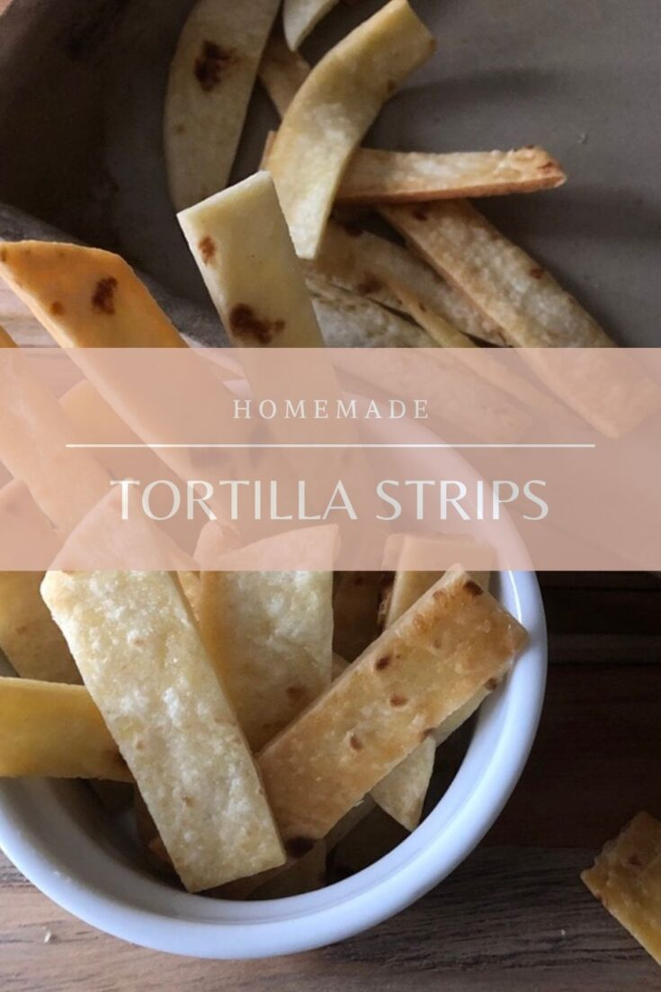 Homemade Tortilla Strips are easy to make and very cost effective. Using flour or corn tortillas you probably already have in your pantry, there is only 2 ingredients. It is also a good way to use up those tortillas you have left over! #tortillastrips #homemadetortillastrips