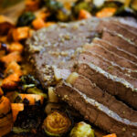 Bourbon Steak with Brussel sprouts and sweet potatoes