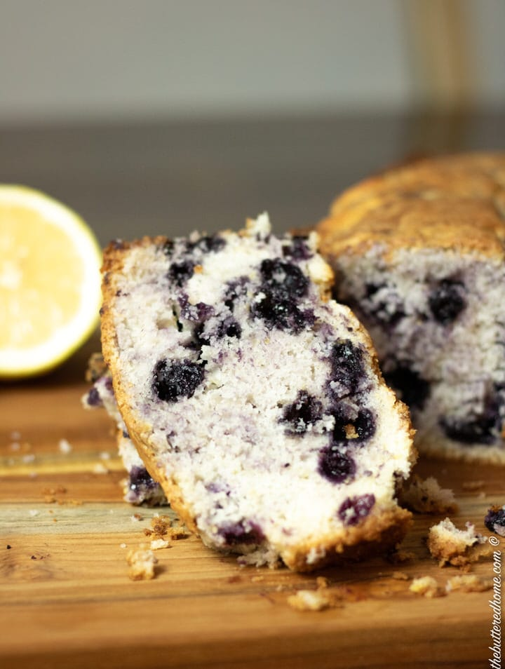 sliced blueberry cake