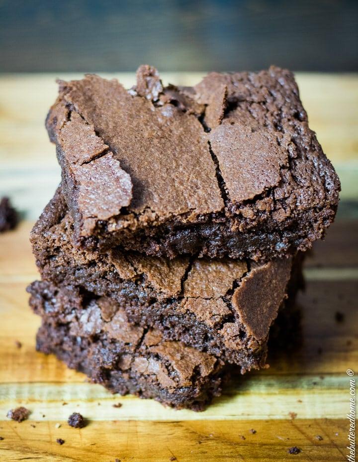 top view of crispy tops of brownies