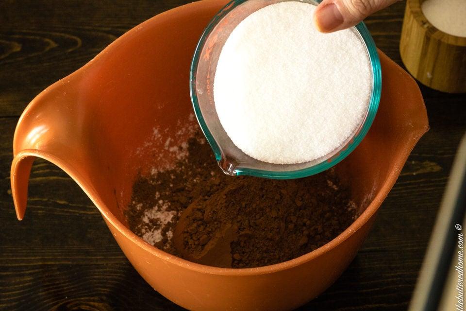 adding sugar to brownie mix