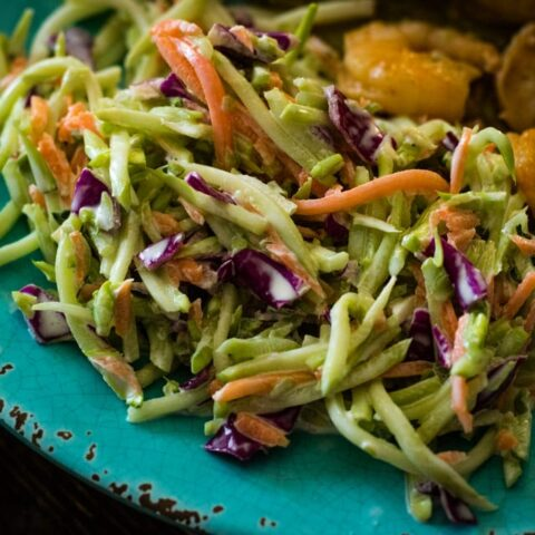 a plate of colorful coleslaw