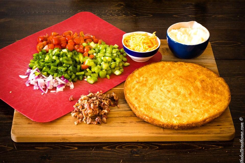 ingredients for bacon cornbread salad