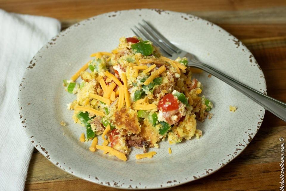 a plate of bacon cornbread salad