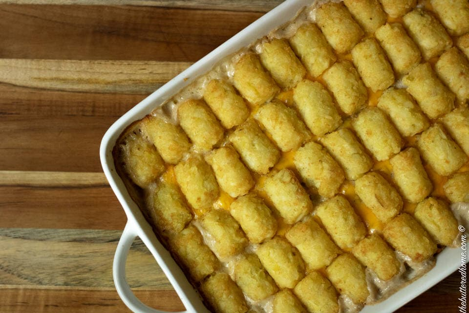 Tater tot casserole out of the oven