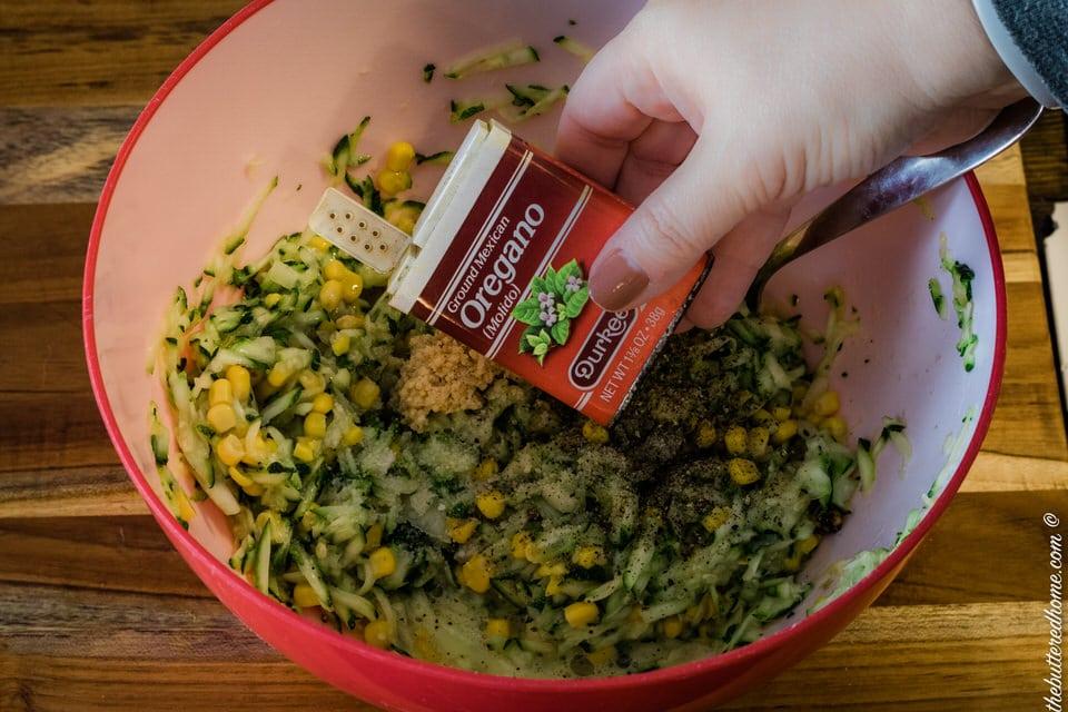 adding oregano for zucchini cornbread