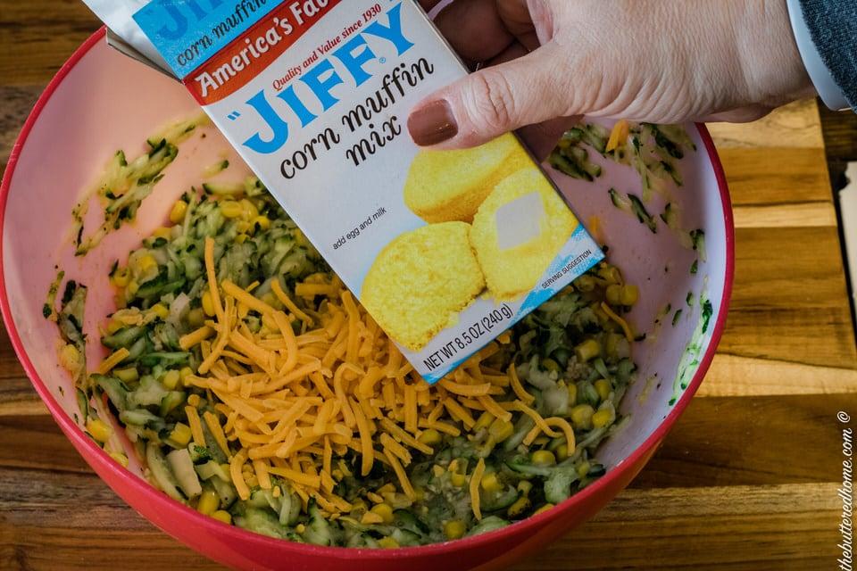 adding cornbread mix for zucchini cornbread