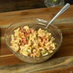 bowl of macaroni salad on a table