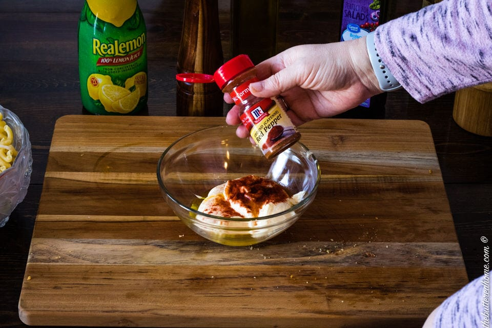 adding cayenne pepper to macaroni salad dressing