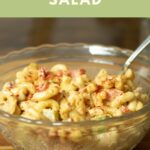 spicy macaroni salad pin for pinterest