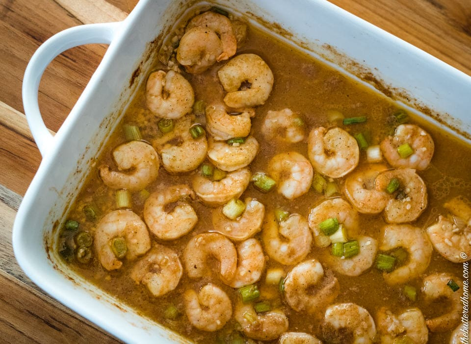 Spicy BBQ Shrimp in a baking dish
