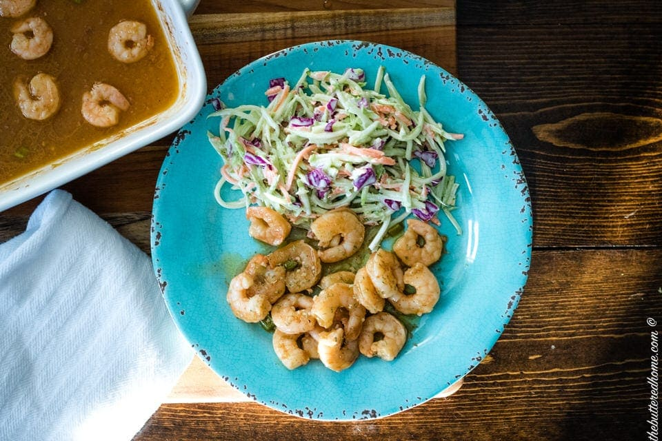 a plate of spicy bbq shrimp
