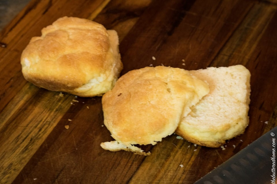 leftover biscuits on a cutting board