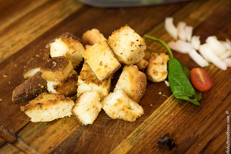 croutons made from leftover biscuits