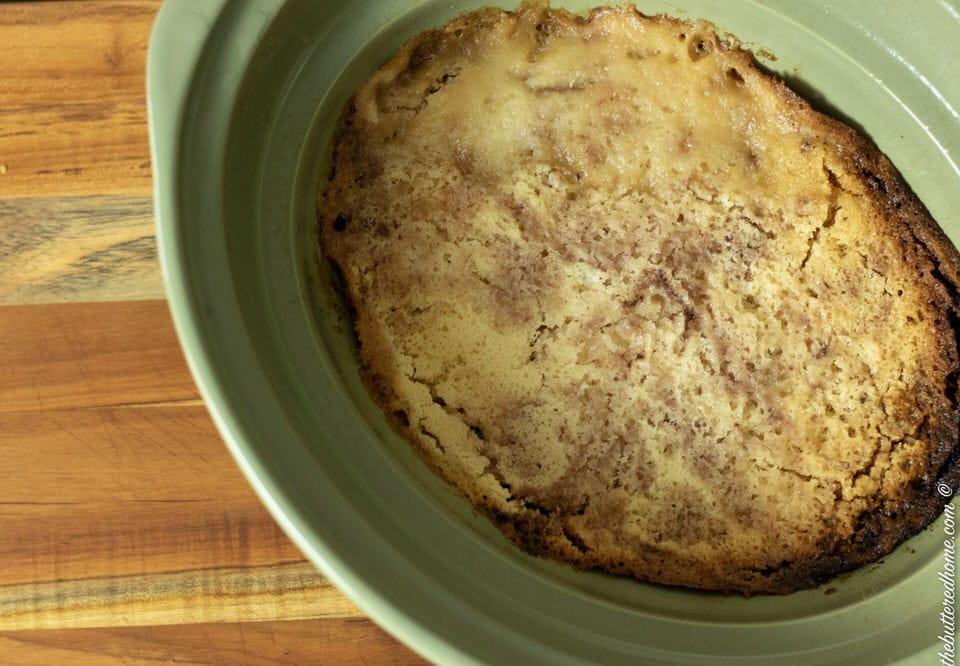 crockpot blueberry cobbler in pan