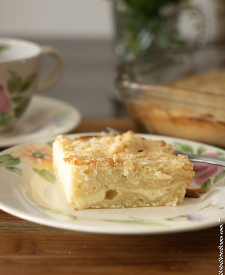 a slice of lemon coffee cake