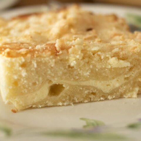 a slice of lemon coffee cake