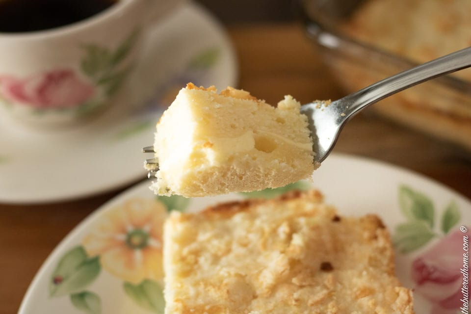 a bite of lemon coffee cake