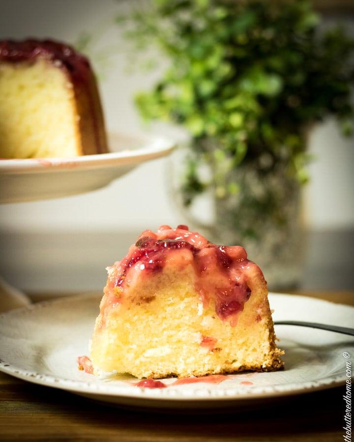 a big slice of strawberry upside down cake