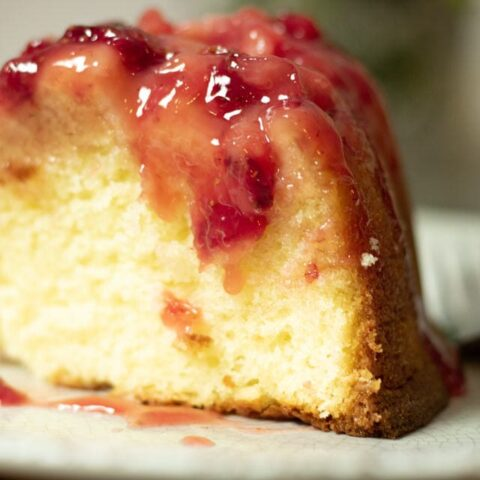 a big slice of strawberry upside down cake