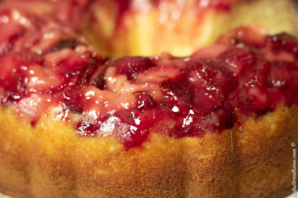 close up photo of strawberry upside down cake