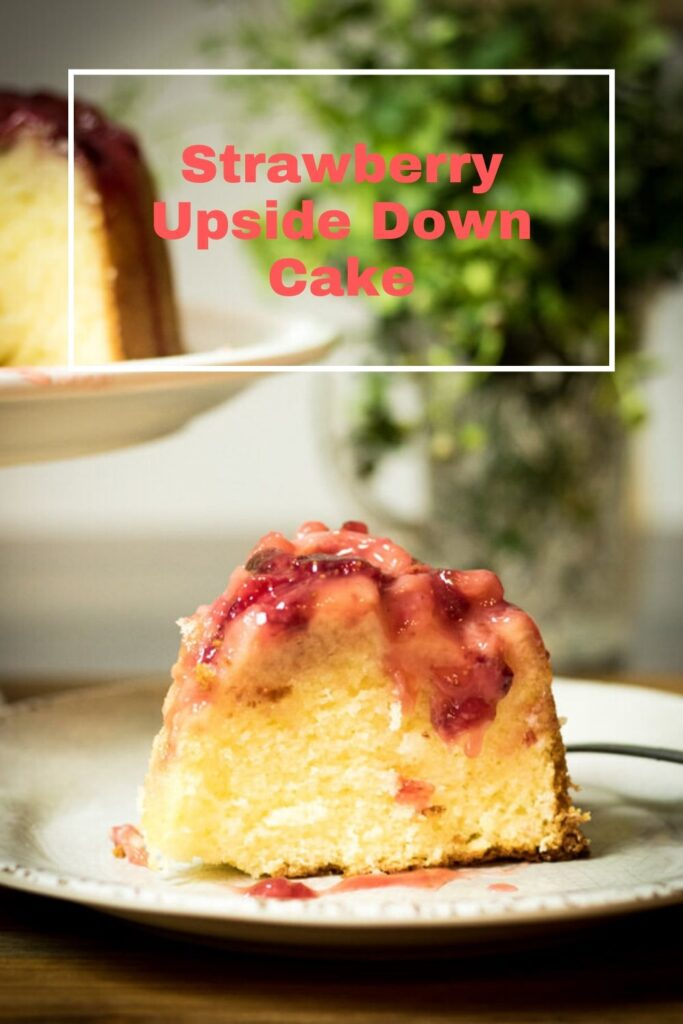 pinterest pin for Strawberry upside down cake