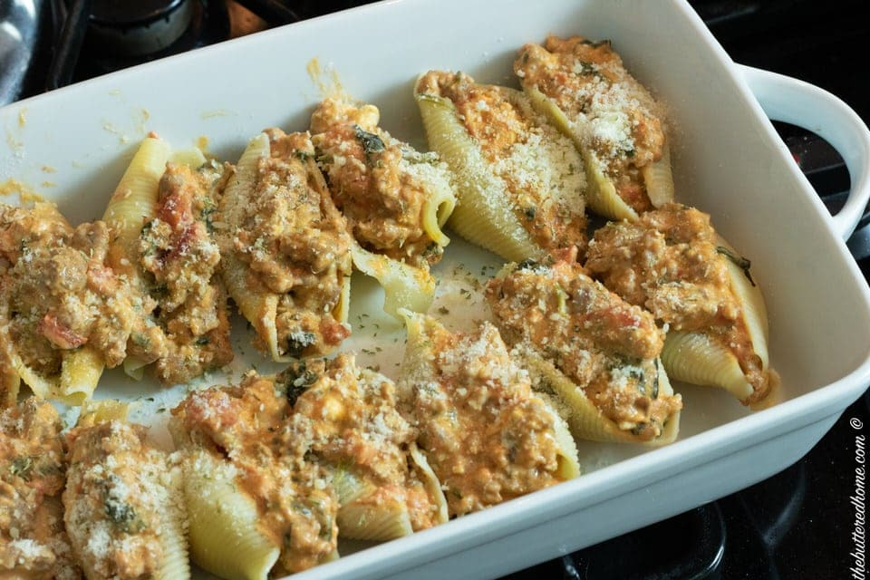 pan of sausage and spinach stuffed shells
