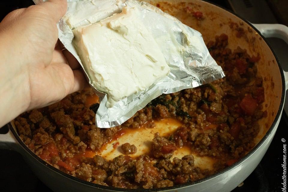 adding cream cheese