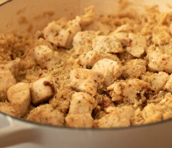 skillet of chicken and rice