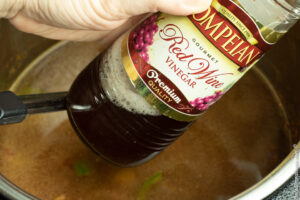 adding red wine vinegar