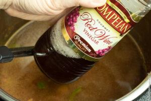 adding red wine vinegar