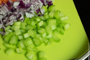 diced celery, carrots and onions