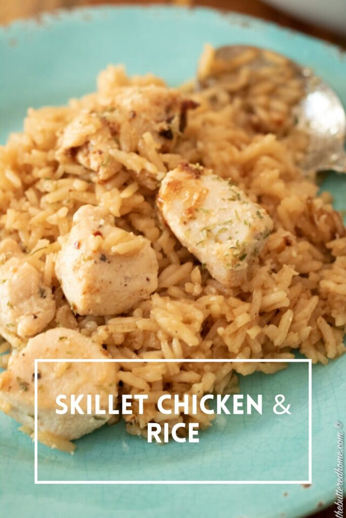 skillet chicken and rice pin for pinterest