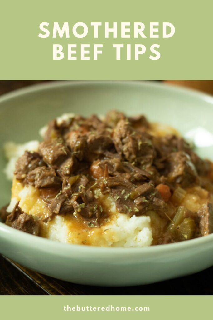 smothered beef tips pin for pinterest