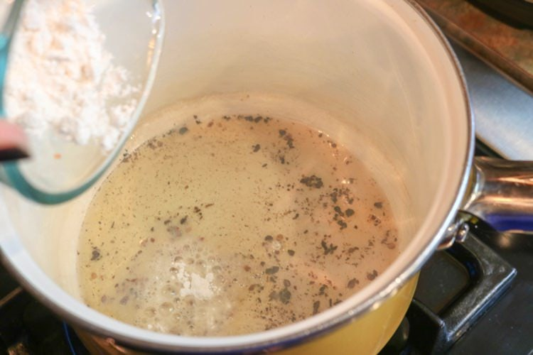 adding flour in with fats for a roux