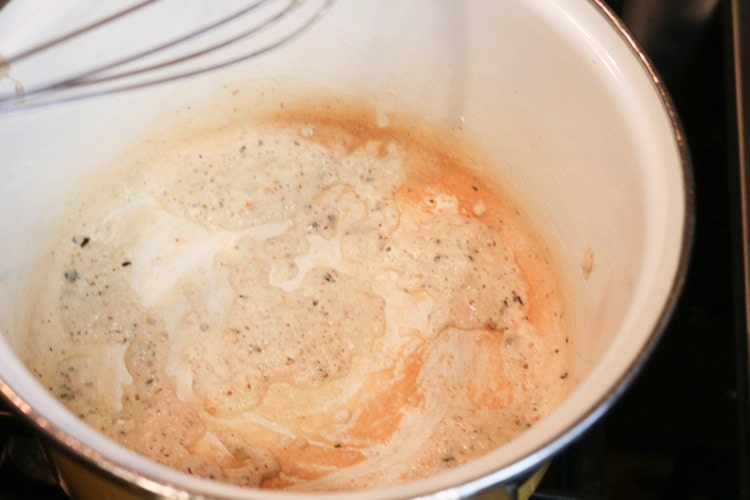 flour, butter and spices with olive oil to make a roux