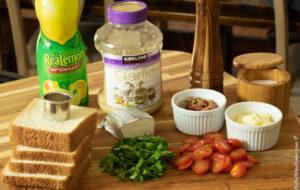 sliced bread, lemon juice, garlic, bacon mayo tomatoes, lettuce cream cheese, salt and pepper for BLT bites