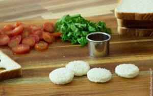 blt bites base, small discs of white bread