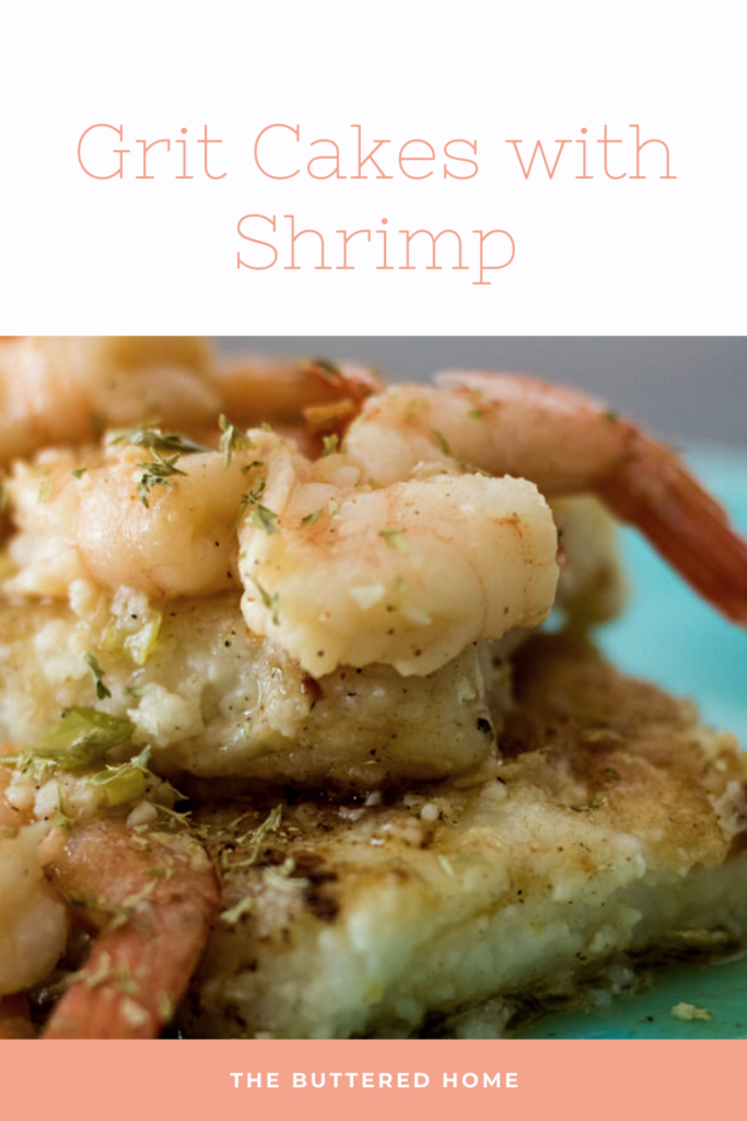 grit cakes with shrimp pin for pinterest