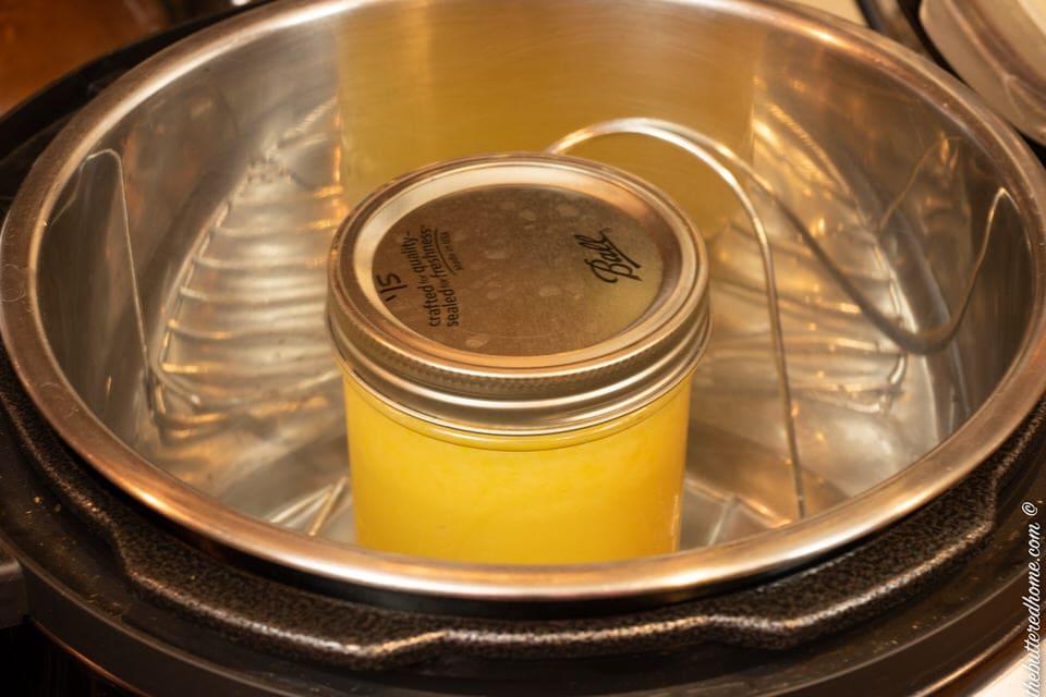 jar of lemon curd in the instant pot