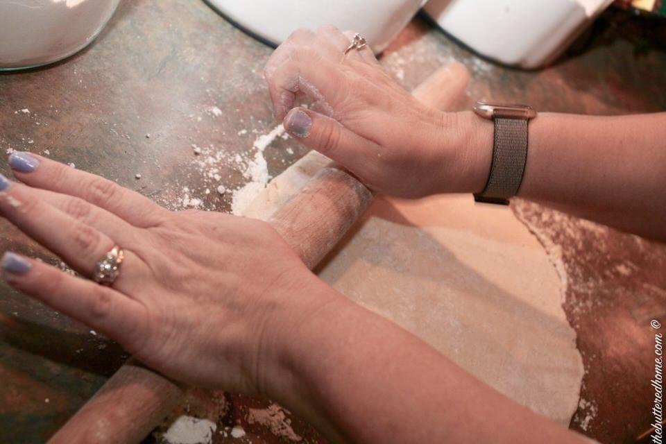 rolling the pie dough