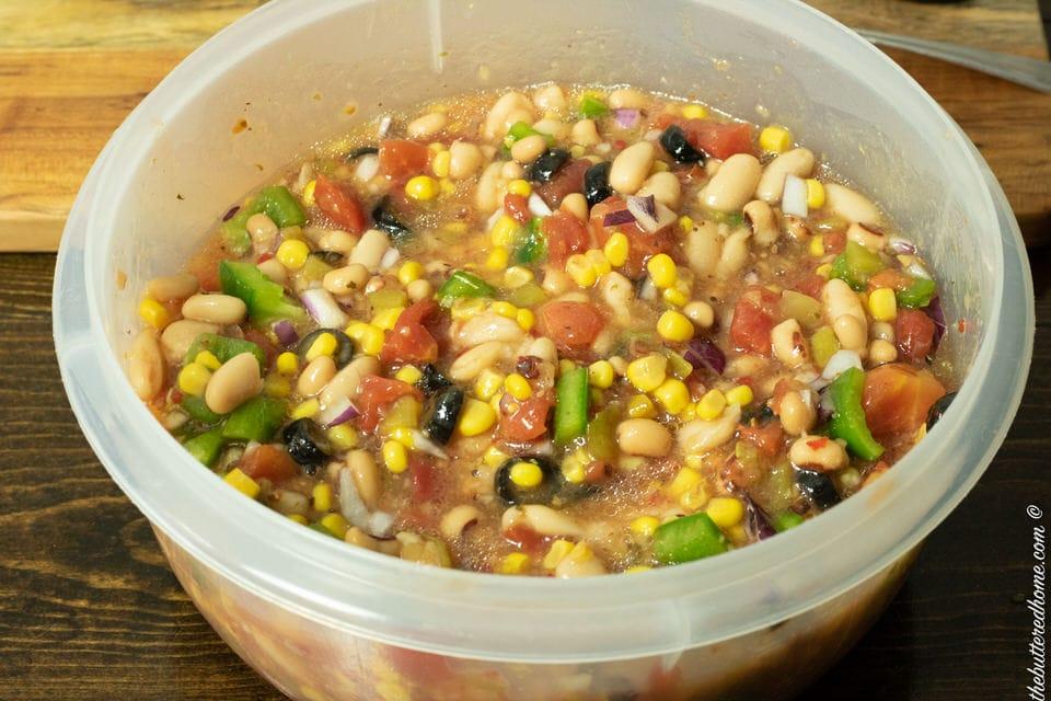 veggies and beans marinating