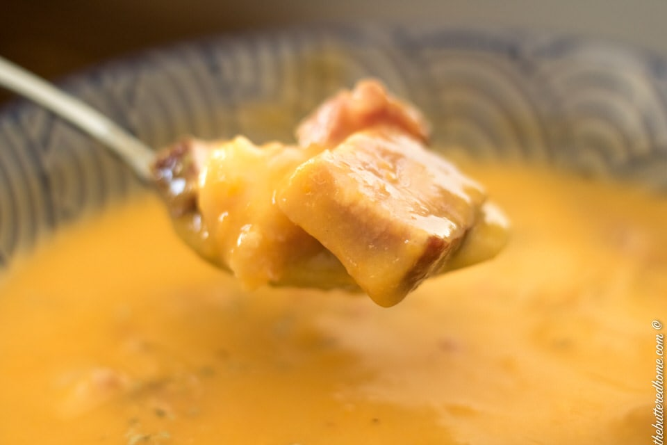 Sweet Potato and Ham Soup on a spoon