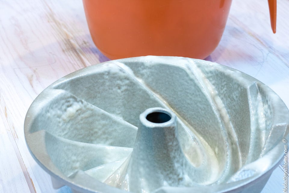 well greased pound cake pan